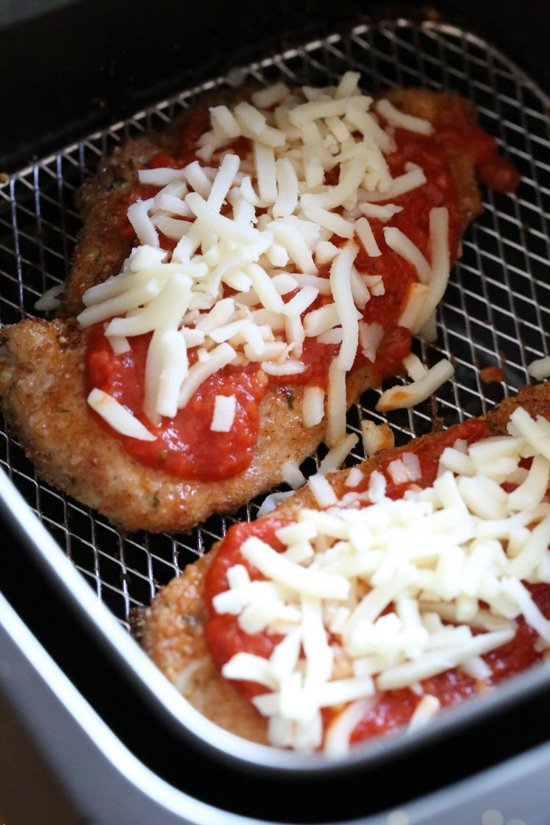 Chicken Parmesan comes out great in the Air Fryer, no need to use so much oil!