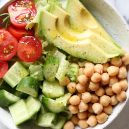 This Chickpea and Avocado salad is my go-to lunch when I need something fast and healthy! I load it up with garden vegetables and top it with a little olive oil and lemon, or olive oil and vinegar depending on my mood. Super simple, fresh and fills me up!