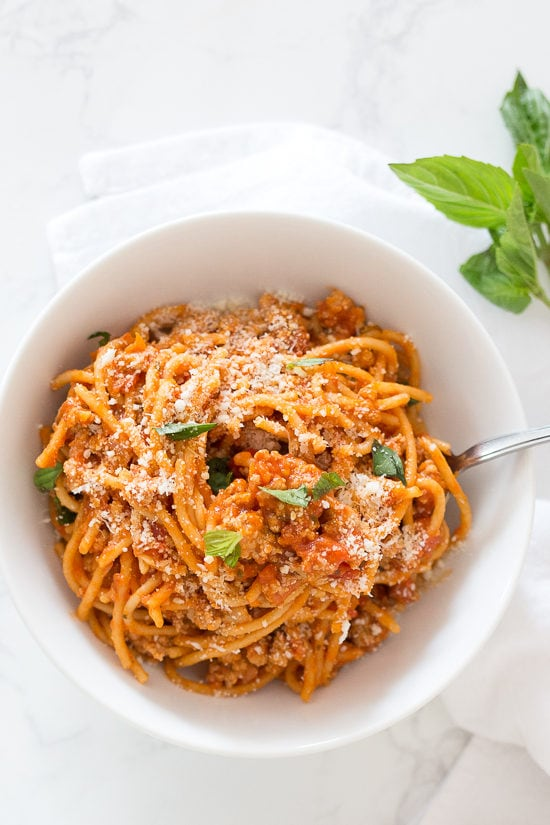 Instant Pot Spaghetti With Meat Sauce Recipe Skinnytaste