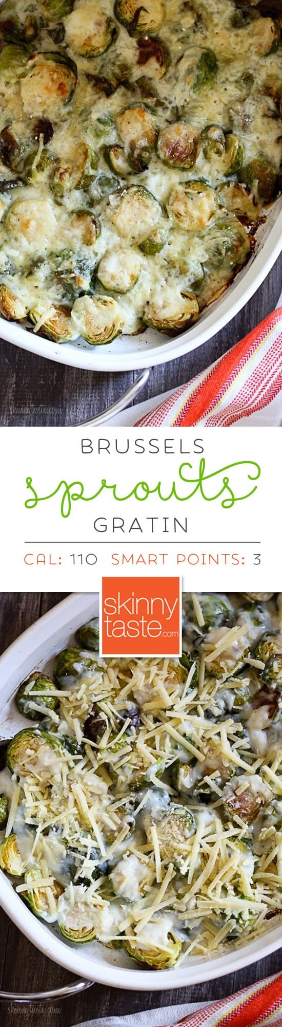 Brussels Sprouts Gratin are the perfect Holiday side dish! The brussels sprouts are roasted until crisp, then topped with a light cheese sauce made with Gruyere and parmesan, and baked until brown and bubbling. If you are as obsessed with brussels sprouts as I am, you'll love these! #bestbrusselssprotesrecipe #brusselssproutsgratin #brusselssprouts #thanksgivingsidedish #brusselssprouts