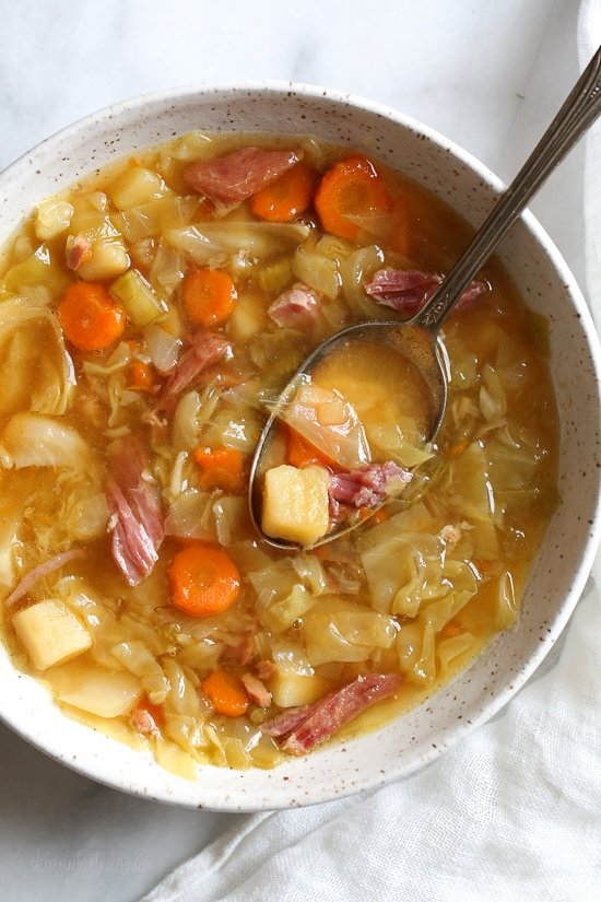 Leftover Ham Bone Soup with Potatoes and Cabbage (Instant Pot, Stove)