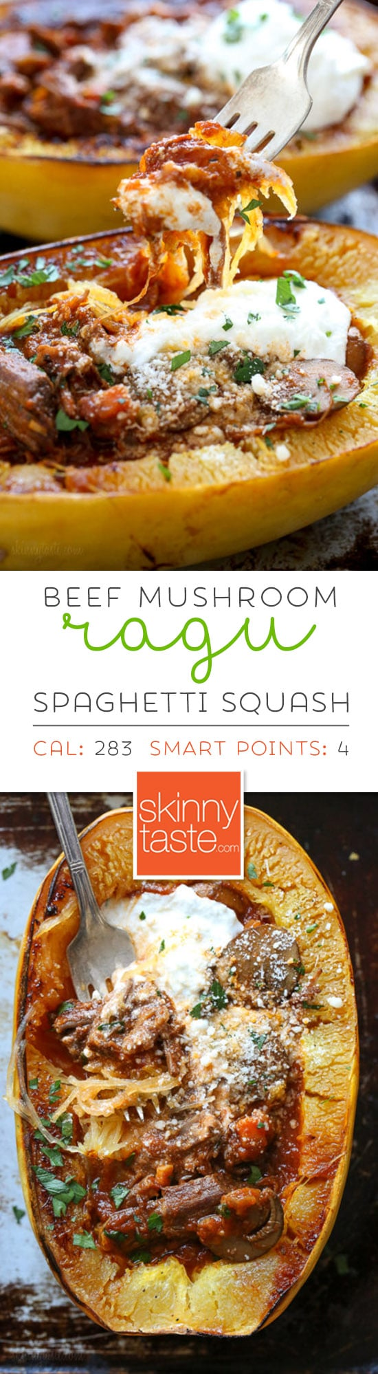 I swapped traditional pasta for roasted spaghetti squash to enjoy this cozy and delicious Beef and Mushroom Ragu served with a dallop of ricotta and grated Pecorino Romano – you won't miss the pasta! #instantpot #spaghettisquash