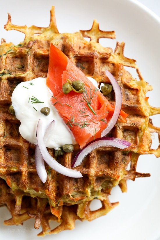 Veggie Latkelles (Waffled Latkes) with Lox