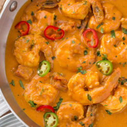 Indian Shrimp Curry in Pan