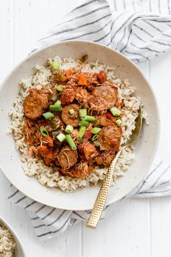 This New Orleans-inspired slow-cooker dish with chicken and Andouille sausage simmered in a rich tomato broth, is perfect tomake for Fat Tuesday!