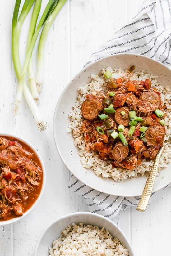 This New Orleans-inspired slow-cooker dish with chicken and Andouille sausage simmered in a rich tomato broth, is perfect to make for Fat Tuesday!