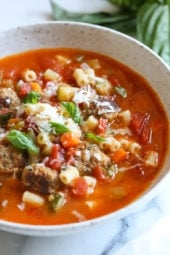 This hearty soup is loaded with mini turkey meatball, zucchini, vegetables and ditalini pasta. I love to add a Parmesan cheese rind to my soup, my secret for extra flavor but it's totally optional!