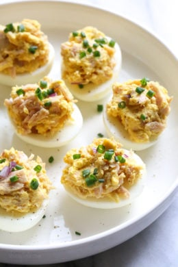These Tuna Stuffed Deviled Eggs are perfect to pack for lunch or serve as an appetizer!