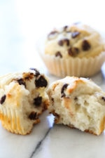 These Yogurt Chocolate Chip Muffins are so moist and high in protein thanks to Greek Yogurt! Perfect to make ahead for breakfast!