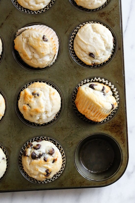 These Yogurt Chocolate Chip Muffins are so moist and high in protein thanks to Greek Yogurt!