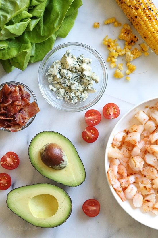 This hearty Chopped Salad with Shrimp, Blue Cheese and Bacon is simple and satisfying!
