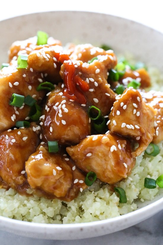 This lighter General Tso's Chicken is made with chunks of white meat chicken breast, lightly wok sautéed with an easy, healthier stir-fry sauce, and more than half the calories than if you ordered take-out!