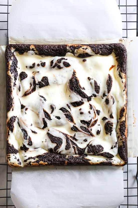 These cheesecake brownies are SO good and flourless made with almond meal instead of wheat flour, which also makes them naturally gluten-free!