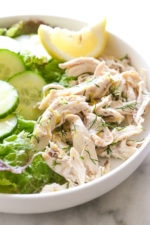 This simple, healthy chicken salad is made with breast meat from a cooked rotisserie chicken, fresh lemon and dill. Fast and easy, and perfect for all diets including low-carb, keto, Whole30, Paleo, gluten-free and of course, Weight Watchers.