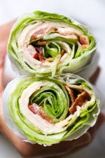 Chicken Club Lettuce Wrap Sandwich, a low-carb (keto) lunch idea that replaces a wheat wrap for a lettuce wrap. Just 5 ingredients, and less than 10 minutes to make!