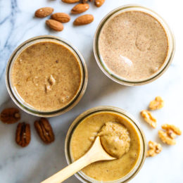 Homemade nut butter is so simple to make, just two ingredients (nuts and salt)! Simply toast the nuts then put them in the food processor. Here I made nut butter three ways; almond butter, walnut butter and pecan butter but any tree nut would work.