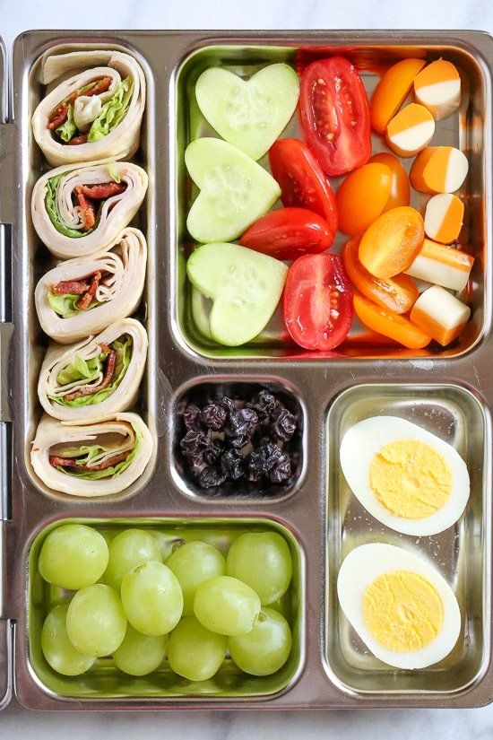 Your kids will love these Turkey Club Rollups packed in their bento style lunchbox!