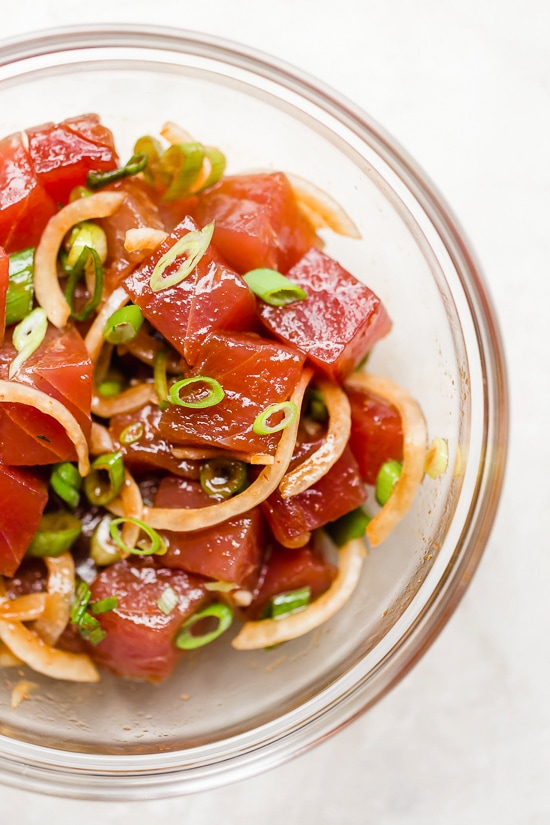 Marinated sushi-grade tuna is ues to make poke.