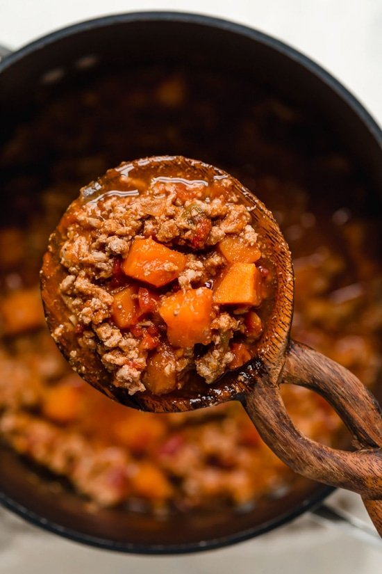 This Turkey Sweet Potato Chili is so good, you might want to double the recipe!! It's made with no beans, but you can of course add them if you wish!