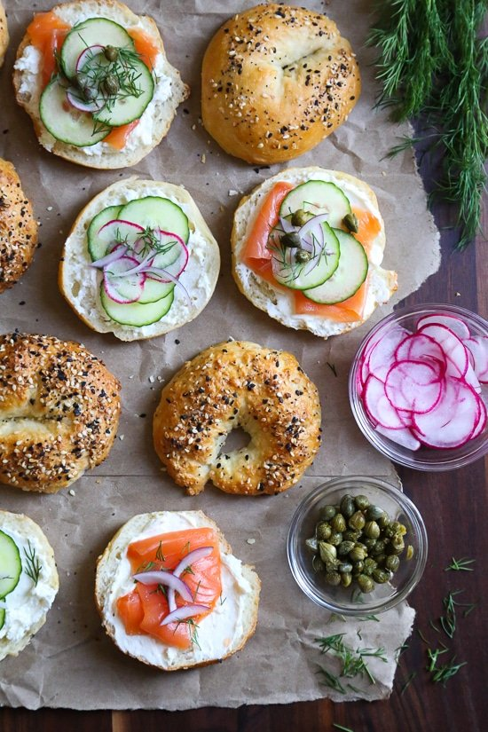 Setting up a bagel bar is the perfect fuss-free breakfast or brunch solution for easy entertaining!