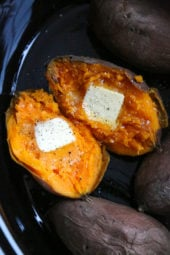The easiest and my way favorite way to make baked sweet potatoes are in the slow cooker rather than the oven! Not only does your house smell amazing while they cook, they come out moist and delicious every time.