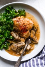 Braised Chicken Thighs with Mushrooms and Leeks is the perfect cold weather comfort food.