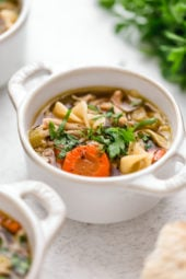 This quick and easy homemade Classic Chicken Noodle Soup recipe can be made in a pot on the stove or the Instant Pot.