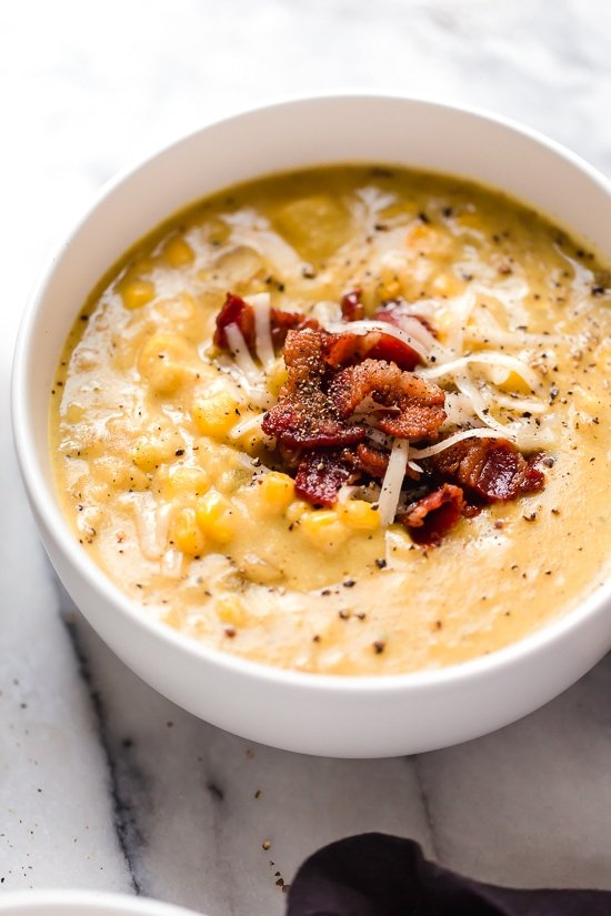 This thick and cheesy chowder with potatoes, corn, cauliflower, and bacon is perfect for cold and cozy winter nights.