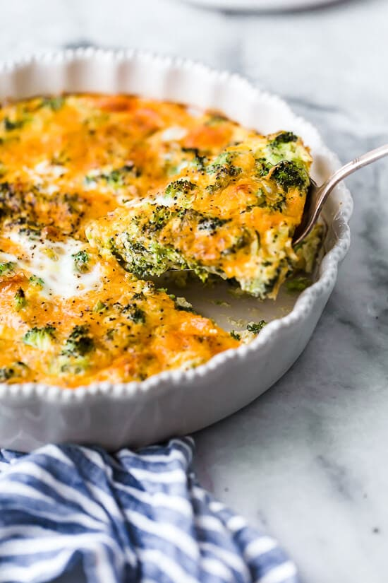 Crustless Broccoli & Cheddar Quiche