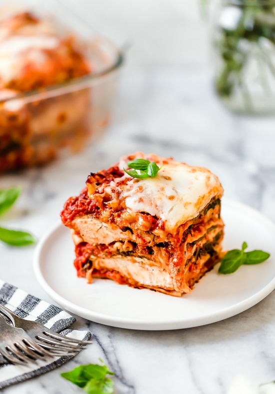 I combined two of my favorite foods – Chicken Parmesan and Lasagna to make this delicious Chicken Parmesan Lasagna, the perfect family-friendly dish to feed a large crowd!