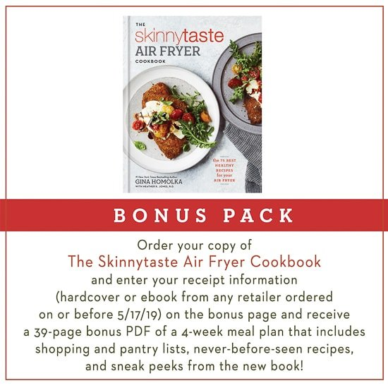 I'm beyond exciting that in just a few short weeks my new cookbook The Skinnytaste Air Fryer Cookbook will finally be hitting bookstores May 7, but it's available to pre-order now!!
