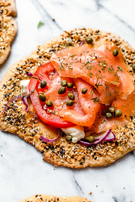 These breakfast pizzas, which are great for breakfast, lunch or breakfast-for-dinner combine two of my favorite foods – lox, pizza dough and everything bagel seasoning!