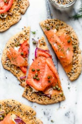 These everything bagel flatbreads, which are great for breakfast or breakfast-for-dinner combine two of my favorite foods – lox and everything bagel seasoning!