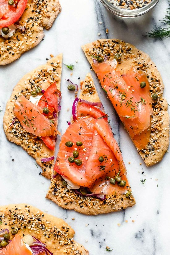 These breakfast pizzas, which are great for breakfast or breakfast-for-dinner combine two of my favorite foods – lox and everything bagel seasoning!
