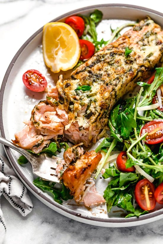 I'm obsessed with this Basil-Parmesan Crusted Salmon recipe! I make this in the air fryer, it's quick and easy, and the fish comes out so juicy inside.