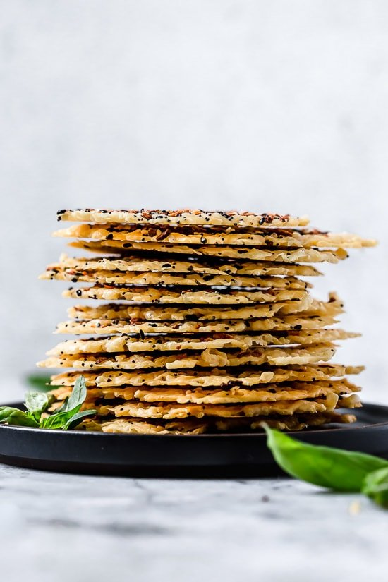 I love making these Everything Parmesan Crisps as a low-carb snack, to add to Caesar salad in place of croutons, or a great addition to any charcuterie board as an appetizer.