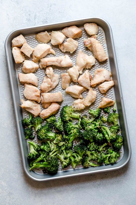 This easy meal-prep honey-sriracha chicken dish, which can also be served as a main dish, is made on a sheet pan and comes together quick!