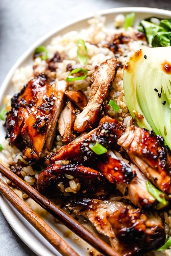 These Asian Glazed Chicken Thighs come out so juicy and delicious in the air fryer!