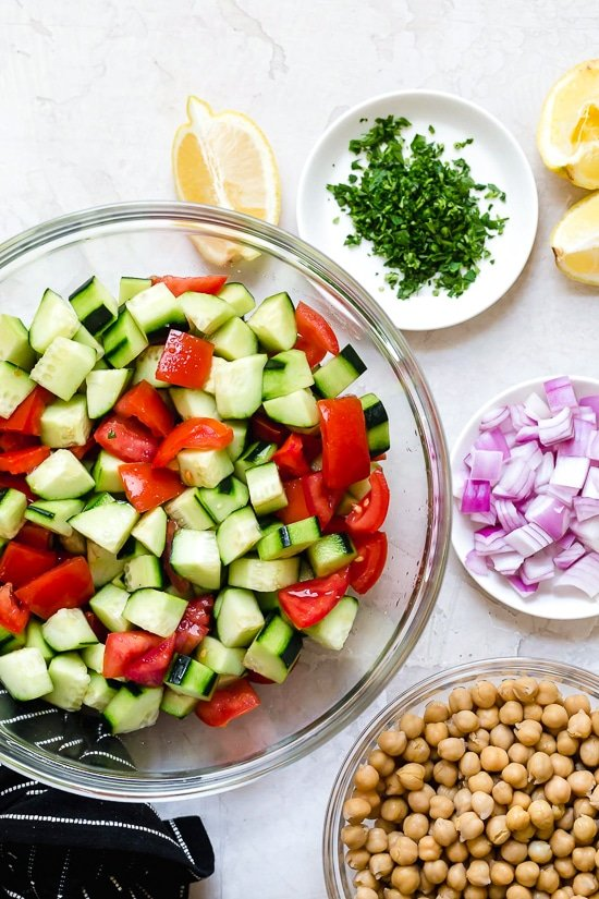 Cucumbers and Tomatoes for an easy chickpea salad.