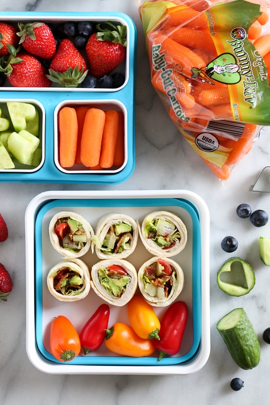 These easy BLT Roll Ups with Turkey and Avocado are delicious and perfect for school lunch.