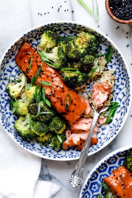 Healthy Air Fryer Salmon with Maple Soy Glaze is delicious, and ready in minutes!
