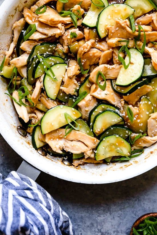 This quick Chicken and Zucchini Stir Fry is delicious, made with chicken breast, zucchini and an easy stir fry sauce.