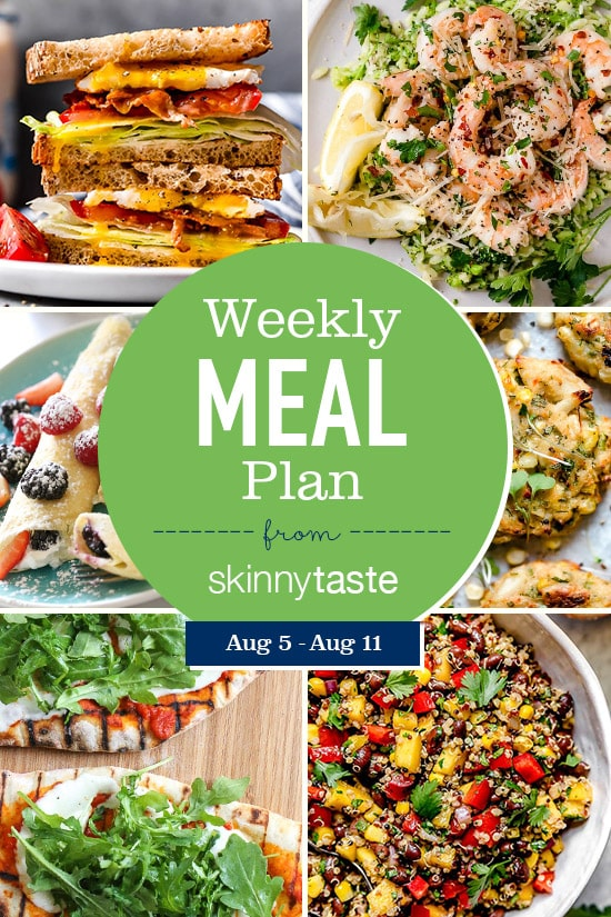 A free 7-day flexible weight loss meal plan including breakfast, lunch and dinner and a shopping list. All recipes include calories and Weight Watchers SmartPoints®.