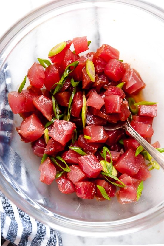 Sushi grade tuna to make poke.