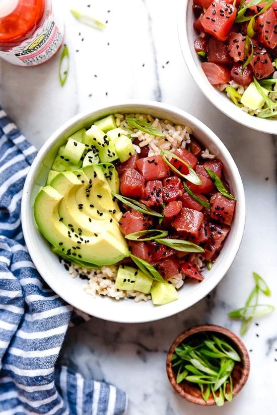Spicy Tuna Poke Bowls Obsessed Skinnytaste