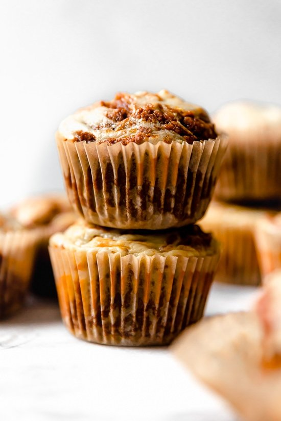 Pumpkin cream cheese muffins are moist, delicious and perfectly seasoned! A delicious autumn breakfast made with canned pumpkin, pumpkin spice, and cream cheese swirl topping.