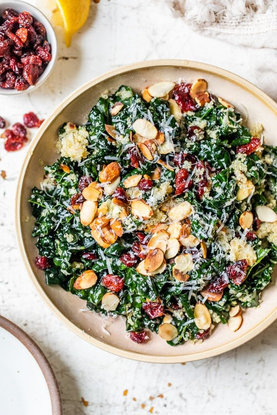 This hearty, fall Kale Salad with Quinoa and Cranberries is made even better by massaging the kale which helps break down the tough cell structure and gives the raw kale a softer texture and gentler flavor.