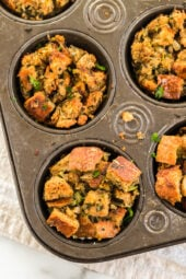 Stuffing Muffins baked in a muffin tin for easy portion control! This classic stuffing recipe is made even more delicious with Pancetta!