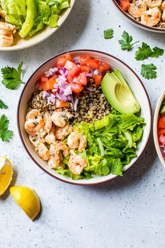 Lemon Shrimp Quinoa Bowls