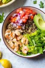 These quick and easy Lemon-Chili Shrimp Avocado Quinoa Bowls are great for lunch or dinner, or make them ahead for meal prep!